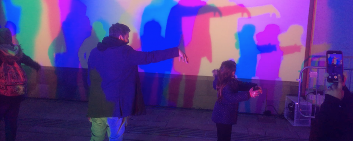 audience playing with Shadowdance